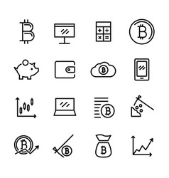 Sixteen bitcoin icons vector