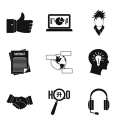 Society icons set simple style vector