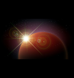 Space background with red planet and rising star vector