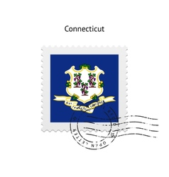 State of Connecticut flag postage stamp vector