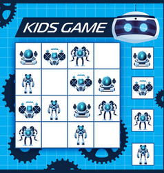 Sudoku kids game with robots logic riddle vector