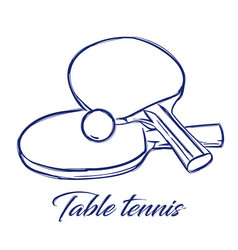 Table tennis bats and ball vector