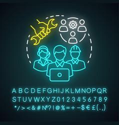 technical team neon light concept icon company vector image