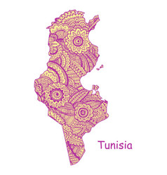 Textured map of tunisia hand drawn ethno vector