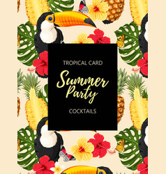 tropical summer card with toucans and flowers vector image