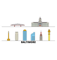 United states baltimore flat landmarks vector