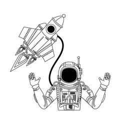 Universe space galaxy astronomy cartoon in black vector