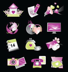 valentine icons for websites vector image vector image