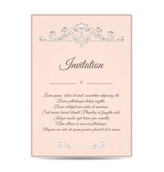 vintage old vertical invitation card beige the vector image