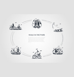walk in the park - people riding bicycles walking vector image