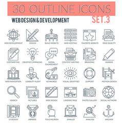 web design and development outline icons vector image