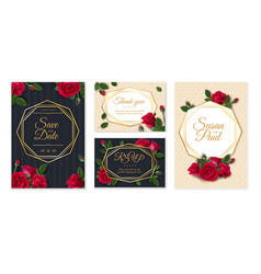 wedding card with roses wedding invitation card vector image