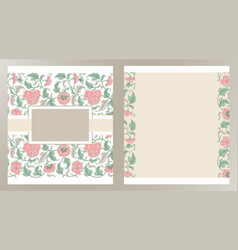 wedding invitation cards with floral elements vector image