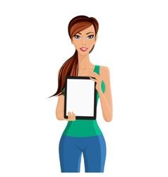 Woman showing tablet computer portrait vector image