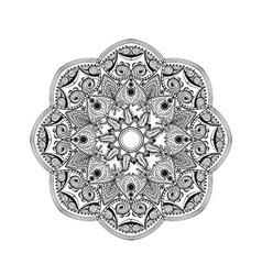 Zentangle stylized Elegant Round Indian Mandala vector image