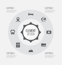 Exploration icons set collection of doss vector