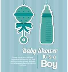 Baby Shower design baby bottle and maraca icon vector image vector image