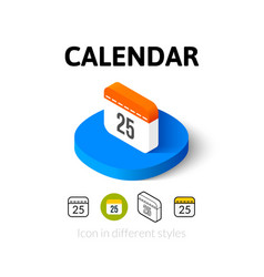 Calendar icon in different style vector image vector image
