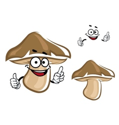 Cartoon brown forest mushroom character vector image vector image