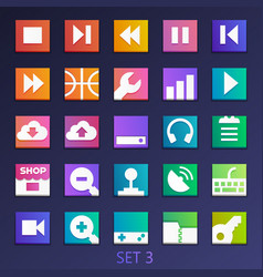colorful flat square icons-set 3 vector image vector image