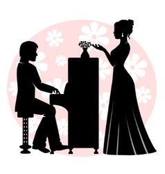 Date in music room vector image vector image
