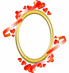 frame with hearts and ribbon vector image