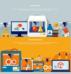 Horizontal banners set on theme of 3d printing vector
