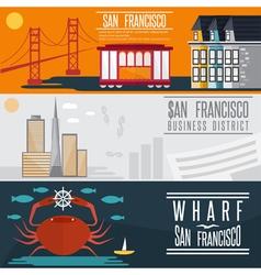 San Francisco landmarks horizontal flat design vector image vector image