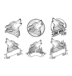 set of a howling wolves vector image