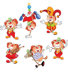 set of cartoon cute cats clowns vector image vector image
