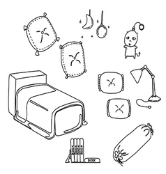 bedroom line vector image