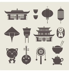 chineese travel icons vector image