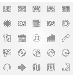 DJ linear icons set vector image vector image