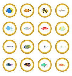 fish icon circle vector image vector image