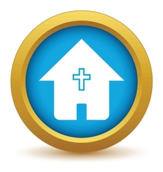 Gold church icon vector image