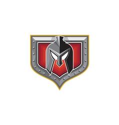 Spartan Helmet Shield Retro vector image vector image