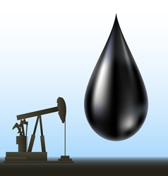 Black oil drop and drill silhouette vector image