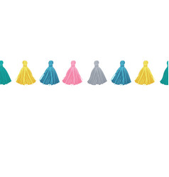 colorful decorative tassels horizontal vector image vector image