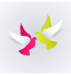 Couple of paper doves on a white background vector image vector image
