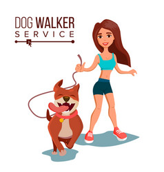 dog walking service pet care exercising vector image