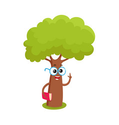 funny smart comic tree character in round glasses vector image vector image