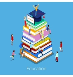 Isometric Education Graduation Books and Students vector image vector image