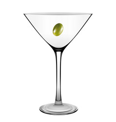 martini glass with olive isolated on white vector image