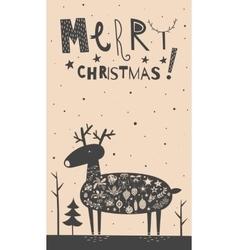 Merry Christmas deer card vector image