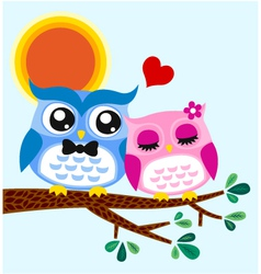 owl in love vector image