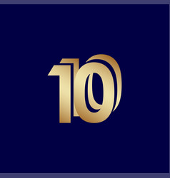 10 years anniversary celebration blue gold vector