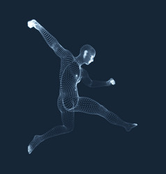 A football player from particle sports concept 3d vector