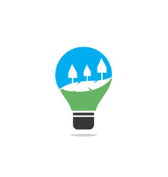 abstract bulb lamp with landscape logo vector image