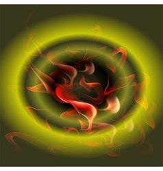 Abstract burning fire circle top view green vector