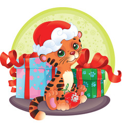 Adorable tiger-cub with christmas gifts vector